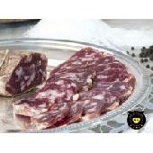 Soppressata rossa piccante di suino nero di Calabria (harte Salami vom schwarzen Schwein)