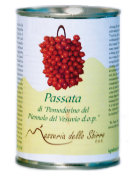 Kirschtomaten in passierten Tomaten aus Pomodorino del Piennolo del Vesuvio DOP - Dose