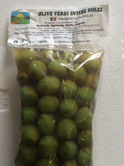 Zarte grüne Oliven in Salzlake - Az. Agricola Melia